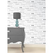 fine decor wall words live love laugh wallpaper white grey