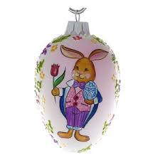 glass easter egg ornaments christmas ornaments world bunny with tulip blown glass