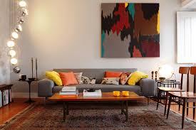 retro modern interior design fair colorful chairs around round