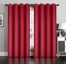curtain pair of susan burgundy blackout embossed window panels w