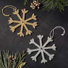 tinsel snowflake ornaments crate and barrel