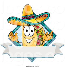 cartoon sombrero royalty free vector logo of a cartoon taco mascot over a blank