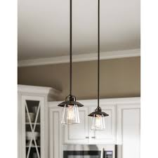 kitchen pendant lighting lowes shop allen roth bristow 6 87 in w mission bronze mini pendant