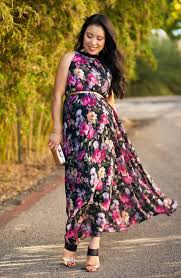 floral pleated maxi maternity fall wedding guest cute