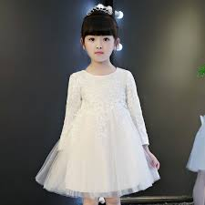 new years dresses for kids fashion princess party dress white costumes children sleeve