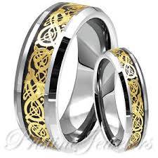 celtic mens wedding bands his gold celtic silver tungsten carbide ring mens