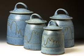 blue kitchen canister pottery kitchen canisters neriumgb