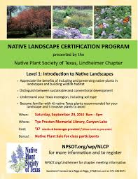 native plants to texas native landscape certification program lindheimer chapter comal