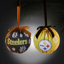 pittsburgh steelers 6 led boxed ornament set black gold