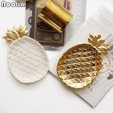 noolim 17x13x2 5cm gold plated pineapple ceramic storage plate