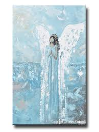 original abstract angel painting guardian angel blue fine art