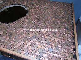 Bathroom Floor Pennies Bathroom Counter Diy A Penny For Your Thoughts