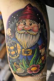 awesome colored spectacular gnome in night tattoo by james rowe