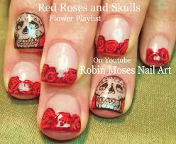robin moses nail art lots of little trendy skull nail art design