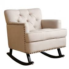 Hinkle Chair Company Best Chair Company White Tufted Rocking Chair With Black Base By