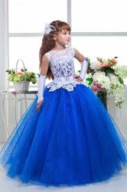 robes de mariã es pas cher élégant fleur fille robes 2016 dentelle bleu royal