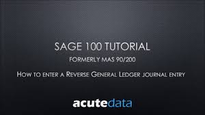 sage 100 how to reverse a general ledger journal entry youtube