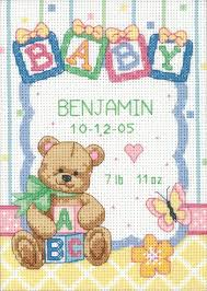 dimensions baby blocks birth record cross stitch kit 73049