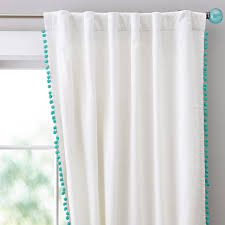 White Curtains With Pom Poms Decorating Endearing Pom Pom Curtains And Batik Pom Pom Curtain West Elm