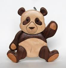 panda bear intarsia wooden ornament magnet wood carving