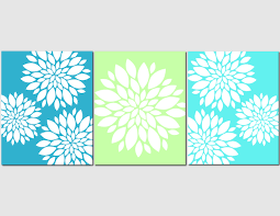 aqua teal lime green wall art home decor flower burst floral