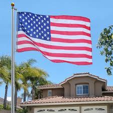 Seasonal Designs Flag Pole 25 Ft Aluminum Sectional Flagpole Kit W Halyard Pole And American