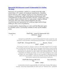 nicu resume neonatal rn resume level iii neonatal icu dallas tx only