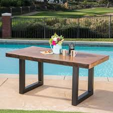 live edge outdoor table caldwell outdoor faux live edge rectangle light weight concrete