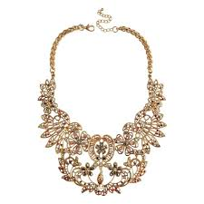 gold chunky necklace images Vintage hollow flowers statement collar necklace gold chunky jpg