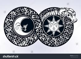 ouroboros devouring own tail tattoo design stock vector 597254366