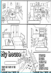 parts of the house worksheet by titila