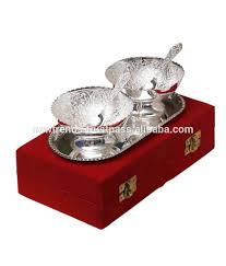 Baby Silver Gifts Silver Plated Tray And Bowl Set With Spoon Silver Plated Tray And
