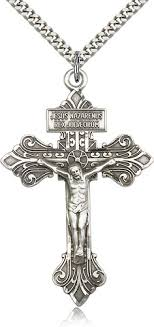 crucifix necklace mens images Large silver pardon crucifix necklace men 0632ss 24s jpg