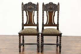 sold set of 6 oak carved 1900 antique scandinavian dining chairs