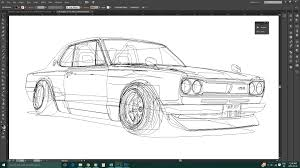 nissan skyline drawing outline public series post 3 u2013 automotive illustration u2013 gurdeep u0027s blog