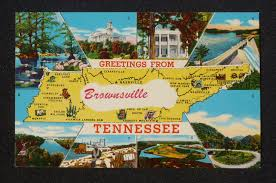 Knoxville Zip Code Map 1950s Tennessee State Map Landmarks Greetings From Brownsville Tn