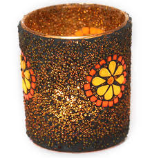 copper dazzle u2013 decorative beaded glass tea light candle holders