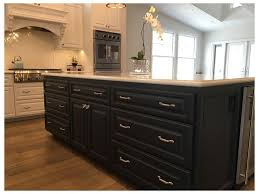 Two Toned Cabinets In Kitchen Built In Shelves Two Tone Cabinets White Walls Shaker Style