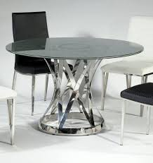 janet glass stainless steel dining table w 48 inch sandwich glass