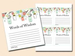 words of wisdom cards words of wisdom bridal shower words of wisdom baby shower