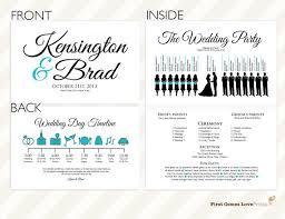 printable wedding program printable silhouette wedding program the kensington sheet