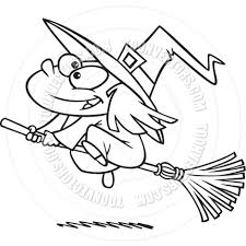 cartoon witch black and white line art by ron leishman