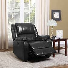 Amazoncom Divano Roma Furniture Plush Bonded Leather Power - Black living room chairs