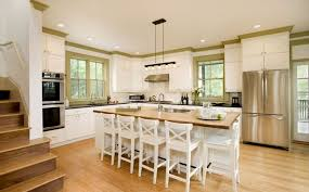 white kitchen cabinets pros and cons bamboo flooring for kitchen with white kitchen island and painted