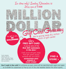 500 dollar gift card bostonstore million dollar gift card giveaway in store