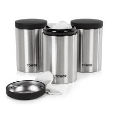 tower canisters with elegant satin polish steel finish 1 3 l