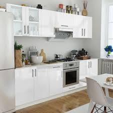 cuisine blanc brillant vidaxl set de 8 meubles cuisine blanc brillant 260 cm