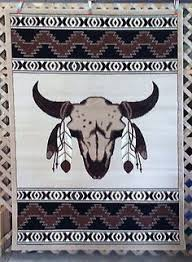 Western Throw Rugs 3x4 Or 6x8 Blue Tan Country Western Horses Horseshoe Star Area