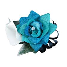 Teal Corsage Colorful Artificial Flower Wedding Bouquet Corsage Shades Of Teal