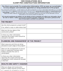 cdm regulations 2015 client pci template pp construction safety